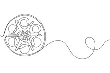 Continuous One Line Of Reel Of Mm Motion Picture Film In Silhouette On A White Background. Linear Stylized.Minimalist.