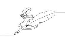 Continuous One Line Of Antique Pen And Ink Well In Silhouette On A White Background. Linear Stylized.Minimalist.