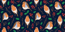 Robin Redbreast Birds Repeat Print. Cute Nature Illustration For Autumn Fall And Winter Season. Seamless Pattern Vector. Birds, Branches, Leaves And Rowan Berries.