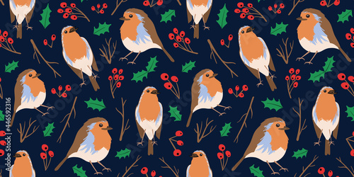 Cuadros en Lienzo Robin redbreast birds repeat print