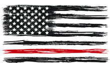 Vector Of The Distressed Usa Firefighter Flag