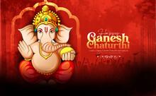 Illustration Of Lord Ganpati For Ganesh Chaturthi Festival Of India, Ganpati Bappa Morya Background