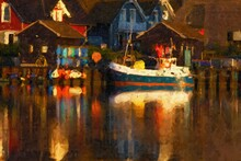 Painted Evening Atmosphere In Boat Harbor On Island Of Ruegen. Colorful Reflection In The Water.