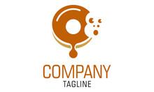 Brown Color Negative Space Money Face Donut Melt Logo Design