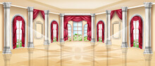 Luxury Palace Interior, Vector Royal Ballroom Background, Classic Wedding Banquet Hall, Marble Column. Fairy Tale Indoor Illustration, Arch Window, Stone Pillar, Glass Floor, Curtain. Palace Interior