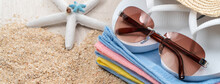 Summer Beach Background Design Concept With Accessories On White Table Background.