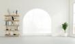 Leinwandbild Motiv Minimal empty room with arched window and white wall, bookshelf. 3D rendering