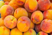 ANTALYA, TURKEY: Sale Of Peaches In A Street Market. Grocery Traditional Turkish Bazaar In Antalya.