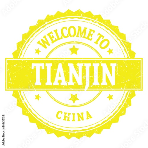 Billede på lærred WELCOME TO TIANJIN - CHINA, words written on yellow stamp
