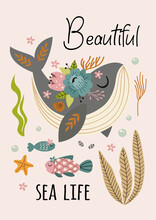 Beautiful Marine Poster With Whale