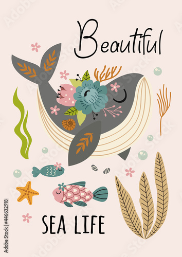 beautiful marine poster with whale Fototapete