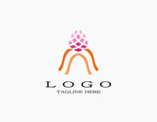 Creative Tulip Flower Logo. Pink Flower Concept. Vector Illustration Can Be Used For Topics Like Nature, Beauty, Biology, Botany. Suitable For Spa, Perfume, Nature, Salon, Hotel.