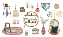 Home Decor In Boho Style. Decoration Objects Like Rattan Chair, Hanging Chairs, Candle Holders, Pictures, Crochet Decor, Puffs, Pillows, Rattan Pots, Shelves, Mats, Plaids, Wood Stools, Lamp... Vector