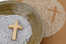 Ashes, Cross And Bible, Ash Wednesday, Lent Season, Catholic Church, France