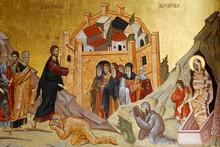 Resurrection Fresco Of Jesus Resurrecting Lazarus, Orthodox Cathedral, Podgorica, Montenegro