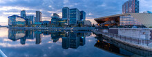 View Of MediaCity UK And Restaurant At Dusk, Salford Quays, Manchester, England