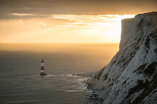 Beachy Head Lighthouse At Sunset, East Sussex, England