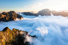 Mountain Peaks Emerging From Clouds At Sunset View From Pico Ruivo, Madeira, Portugal