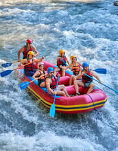 Rafting On A Stormy Mountain River In Summer