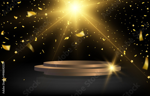Canvas Print Round podium, plinth or platform illuminated by spotlights in the background with falling gold candy for awards and congratulations