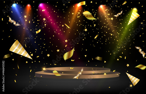 Photo Round podium, plinth or platform illuminated by spotlights in the background with falling gold candy for awards and congratulations