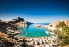 View Over Lindos Town, Rhodes, Dodecanese, Greek Islands, Greece