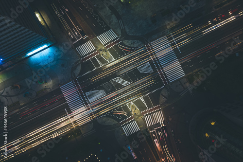 Canvastavla Abstract aerial top down view of crossroad