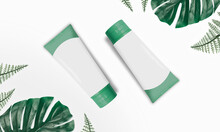 Flat Lay Cosmetic Green Bottle Ads With Tropical Leaves Blank Label For Branding Mock-up Isolated On White Background - Minimalism Style