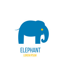 Abstract Elephant Figure Icon In Blue
