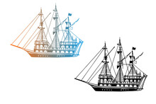Two Vintage Ships, Old Boats In The Sea. Pirate Schooners. Hand Drawn Sketch. Line Art. Black And White Vector Illustration On White Background
