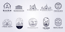 Set Bundle Collection Barn House Water Warehouse Factory Storage Farm House Farmland Logo Vector Illustration Icon Symbol Template Badge Label Isolated Template Design