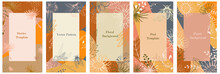 Set Of Vertical Banners For Posts, Ad, Stories, Flyers. Texture In Orange, Yellow, Blue. Summer, Autumn Harvest Theme, Plants, Nature. Contour Flower Drawing, Leaves, Butterflies. Vector Illustration
