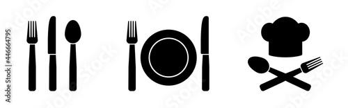 Fotografie, Obraz Cutlery symbols restaurant and gastronomy icons