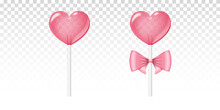 Realistic Pink Lollipop. Two Isolated Heart Shaped Candies On Stick With Bow