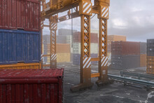 3D Rendering Of Docklands Shipping Container Yard With Railway Track And Crane.