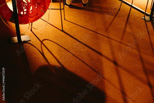 Canvas Warm shadows on a Parisian barge at night