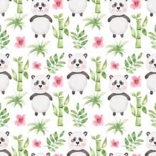 Cute Panda Seamless Pattern, Watercolor Hand Drawn Black And White Beat Animal Paper And Bamboo, Little Bear Scrapbook Paper, Kids Textile Print
