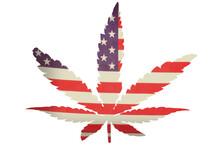 A Marijuana Leaf Superimposed Over An American Flag.