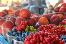 Redcurrants, Raspberries, Gooseberries, Billberries, Peaches And Other Fruit And Vegetables For Sale At Local Farmers Market. Fresh Organic Produce For Sale At Local Farmers Market