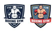 Boxer In Fighting Stance - Vintage Boxing Gym Logo. Vector Illustration.