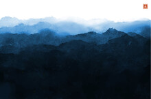 Minimalistic  Landscape With Blue Misty Forest Mountains.Traditional Japanese Ink Wash Painting Sumi-e. Translation Of Hieroglyph - Eternity
