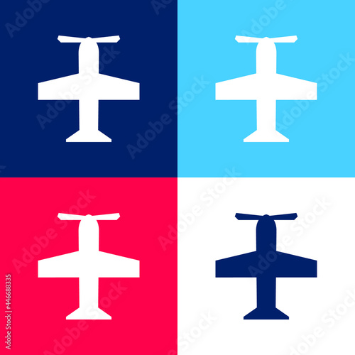 Canvas Print Airscrew blue and red four color minimal icon set