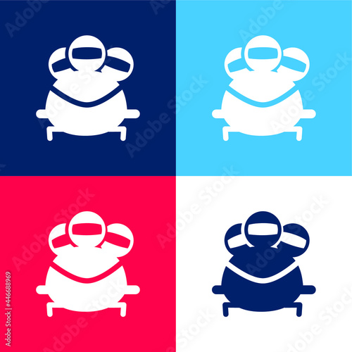 Fotografie, Tablou Bobsleigh Olympic Sport blue and red four color minimal icon set