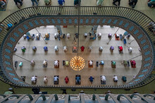 View Of Many People Praying In A Big Islamic Mosque In Dhaka, Bangladesh.