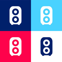 Audio Amplification Blue And Red Four Color Minimal Icon Set
