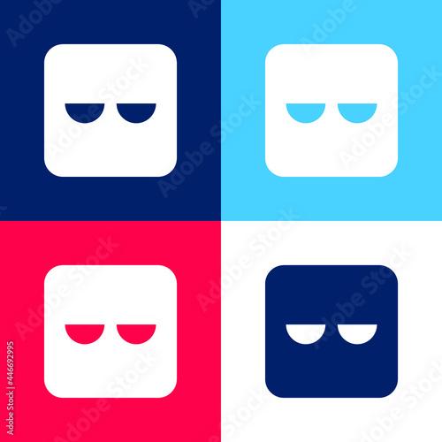 Fototapeta Bored blue and red four color minimal icon set