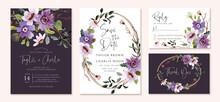 Wedding Invitation Set With Purple Flower Watercolor