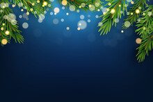 Blue Christmas Holiday Party Background. Happy New Year And Merry Christmas Poster Template. Vector Illustration