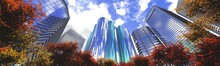 Skyscrapers, High-rise Buildings, View Of The Skyscrapers From The Park, 3D Rendering