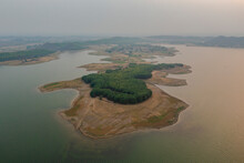 Aerial View Of A Lagoon Shoreline At Tilaya Dam Reservoir In Poraia, Jharkhand, India.